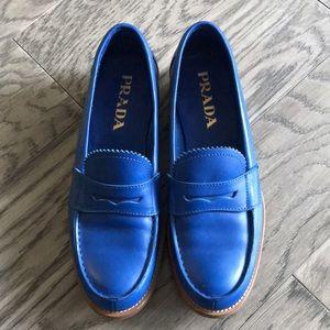 Prada blue genuine leather loafers size 7.5